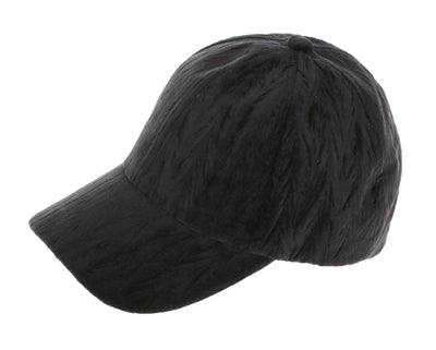Women's Textured Velvet Baseball Cap with adjustable velcro back