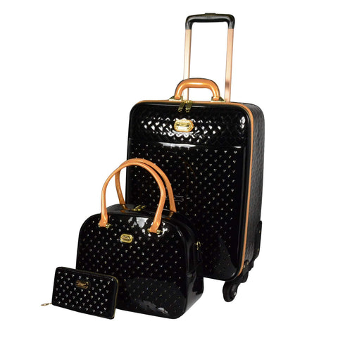 BRANGIO 3 PC LUGGAGE SET BLACK WITH CRYSTALS TWINKLE STAR & HEARTS -  ID You & Co.