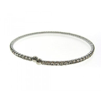 Silver Stretch Elastic Row of Cubic Zirconia Bracelet -  ID You & Co.
