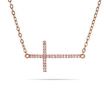 Sideways CZ Cross Necklace -  RHEAS.ONLINE