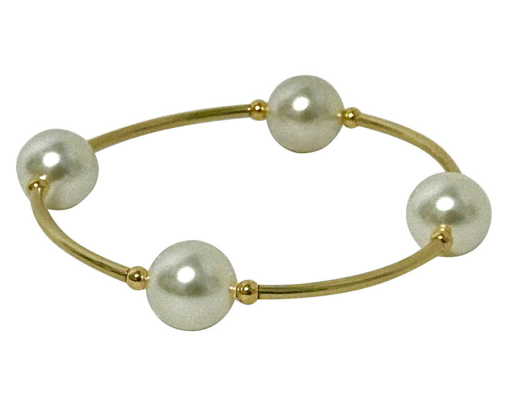 NEW Count Your Blessings Bracelet, 14/20 Gold & White  12mm Swarovski (4 Bead) -  RHEAS.ONLINE