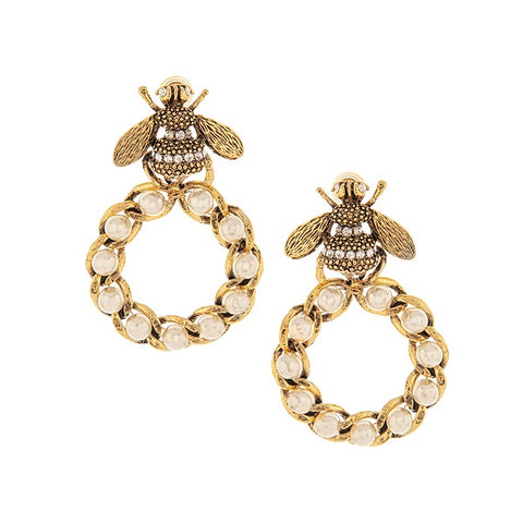 Pearl & Crystal Bee Hoop Earrings by Yochi Jewelry -  RHEAS.ONLINE