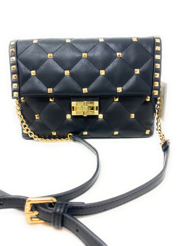 INZI STUDDED QUILTED CROSSBODY HANDBAG