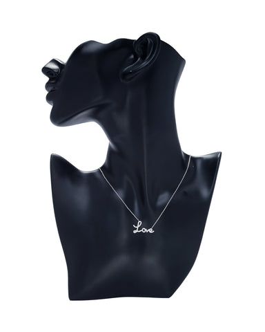 Cubic Zirconia Script Love Necklace -  RHEAS.ONLINE