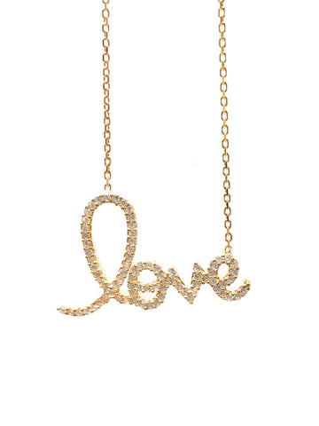 Cubic Zirconia Gold LOVE Necklace -  RHEAS.ONLINE