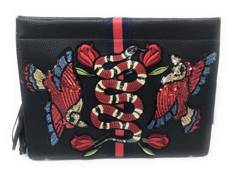 Embroidered Snake & Sequin Birds Clutch Handbag by INZI Handbags -  ID You & Co.