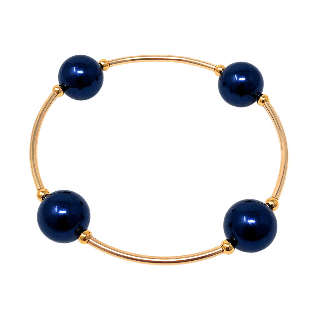 Count Your Blessings Bracelet, Gold  & Midnight Blue 12mm Swarovski (4 Bead) -  ID You & Co.