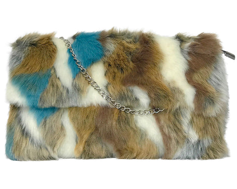 Faux Fur Front Flap Cross Body Handbag by INZI Handbags
