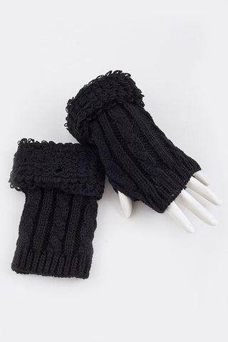 Soft Cable Knit Fingerless Gloves -  RHEAS.ONLINE