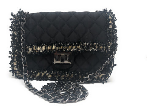 Black Quilted Top Flap Handbag with Chain Shoulder Strap by Inzi Handbags -  ID You & Co.