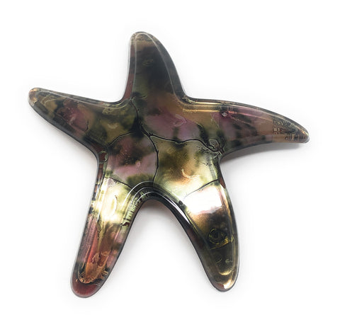 MEDUSA HEIRLOOMS STARFISH BARRETTE, PINK CARMEL CRACKLE -  RHEAS.ONLINE