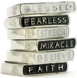 GOOD WORKS BLESSED, FEARLESS, STRENGTH, FAITH CLASSY RINGS -  ID You & Co.