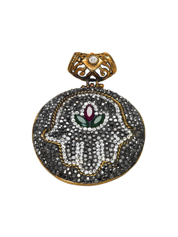 Handmade Turkish Sterling Silver Ruby & Emerald Hamsa Pendant -  ID You & Co.