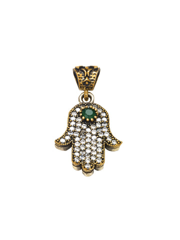 Handmade Turkish Sterling Silver & Emerald Hamsa Pendant -  ID You & Co.