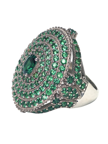 Handmade Turkish Sterling Silver & All Over Emerald Colored Ring -  ID You & Co.