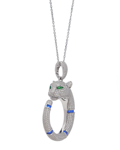 Maya Caroleena Sterling Silver Panther Pendant and Necklace