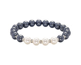 Count Your Blessings Two Tone Swarovski Pearl & Crystal Bracelet (Black)