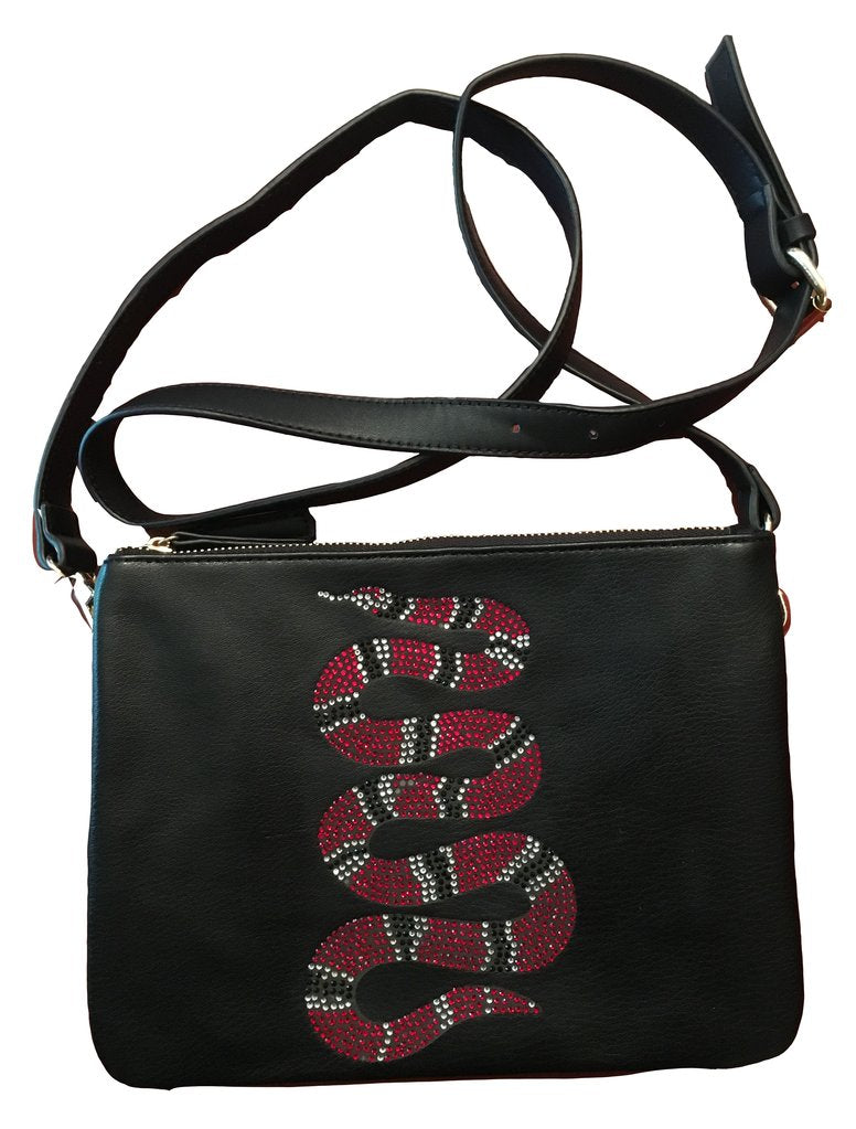 CRYSTAL SNAKE CROSS BODY HANDBAG CLUTCH  AH! DORNED -  RHEAS.ONLINE