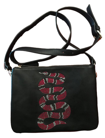 CRYSTAL SNAKE VEGAN LEATHER CROSS BODY HANDBAG CLUTCH , BLACK by AH! DORNED -  ID You & Co.