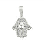 Sterling Silver & Cubic Zirconia Hamsa Pendant -  ID You & Co.