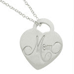 STERLING SILVER HEART NECKLACE ENGRAVED FOR MOM -  ID You & Co.