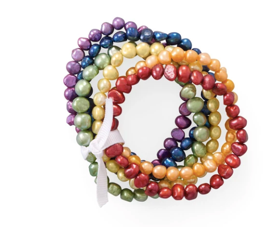 Rainbow Cultured Freshwater Pearl Bracelets ( Set of 5 )