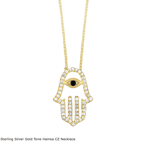 Cubic Zirconia Hamsa & Evil Eye Goldtone Necklace -  ID You & Co.
