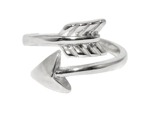 PI BETA PHI SILVER ARROW RING, ADJUSTABLE -  RHEAS.ONLINE