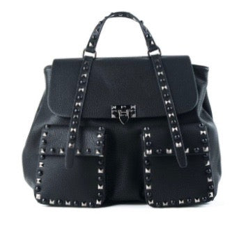 Designer Inspired Studded Two Pocket Backpack by Inzi Handbags -  ID You & Co.
