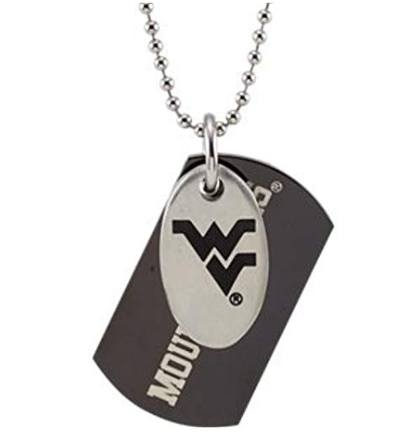 Stainless Steel West Virginia Mountaineers Logo Double Dog Tag with Polished Chain -  ID You & Co.