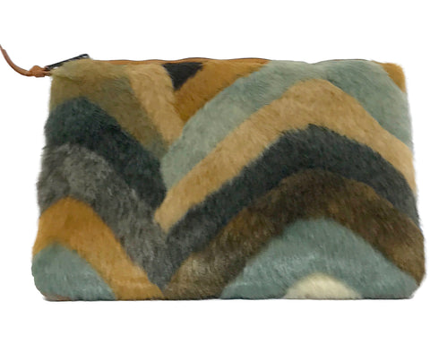 Chevon Faux Fur Clutch by INZI Handbags