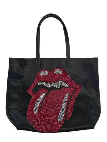 BLINGED OUT CRYSTAL TONGUE ON BLACK VELVET TOTE BY AH!DORNED -  ID You & Co.