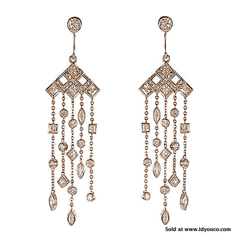 Cubic Zirconia Chandelier Earrings -  ID You & Co.