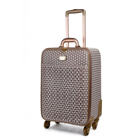 BRANGIO CRYSTAL TWINKLE STAR FLOWER CARRY ON SPINNER LUGGAGE SET, HANDBAG & WALLET, BROWN -  ID You & Co.