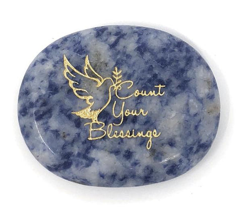 Count Your Blessings Blue Quartz Healing Stone, Worry Stone, Pocket Stone, Feel Good Stone -  ID You & Co.