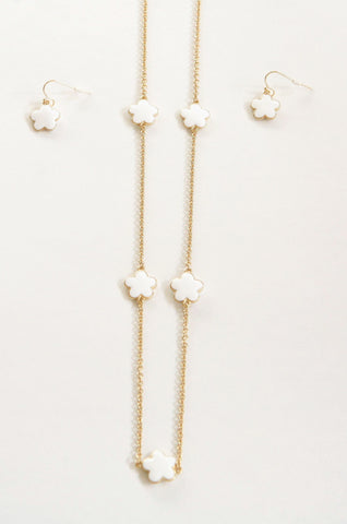 Daisy Double Sided  Enamel Necklace & Earrings Set -  RHEAS.ONLINE