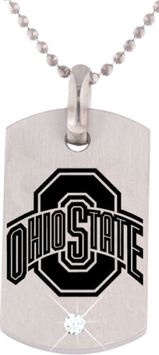 "Ohio State Stainless Steel Logo Dog Tag with 27"" Chain & Cubic Zirconia Diamond Accent -  ID You & Co."