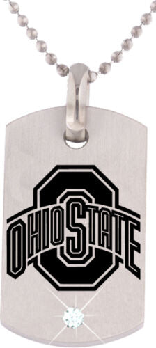 "Ohio State Stainless Steel Logo Dog Tag with 27"" Chain & Cubic Zirconia Diamond Accent -  RHEAS.ONLINE"