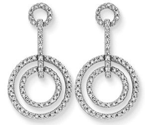 Cubic Zirconia Diamond Double Circle Dangle Earrings -  RHEAS.ONLINE