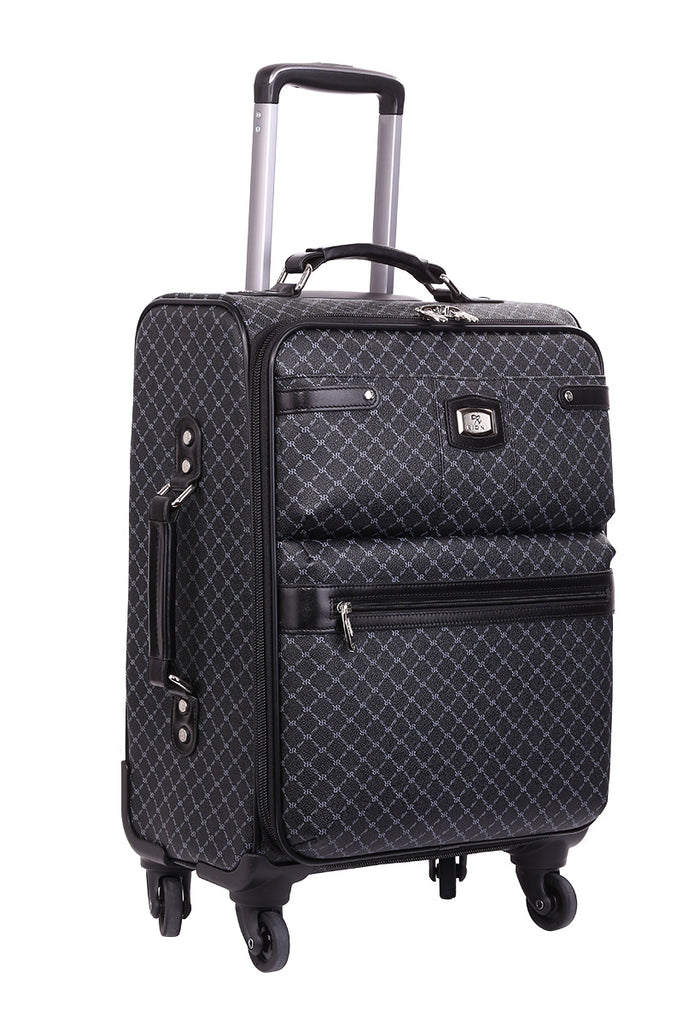 NEW Rioni Signature Black Designer Spinner Luggage MANHATTAN with Silver Hardware, STB20121