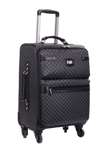 NEW Rioni Signature Black Designer Spinner Luggage MANHATTAN with Silver Hardware, STB20121 -  ID You & Co.