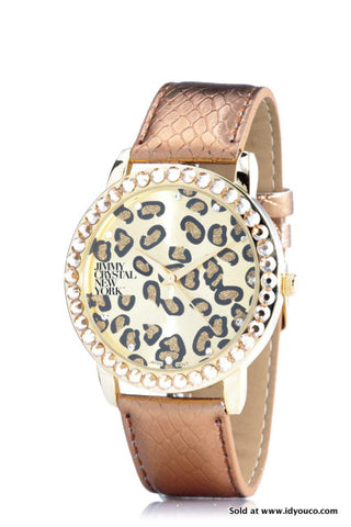 JIMMY CRYSTAL NEW YORK SATIN ANIMAL PRINT WATCH WJ611 -  ID You & Co.