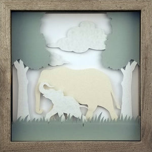 Love of a Parent (White) - An Elephant & Her Calf - The PaperClips Company