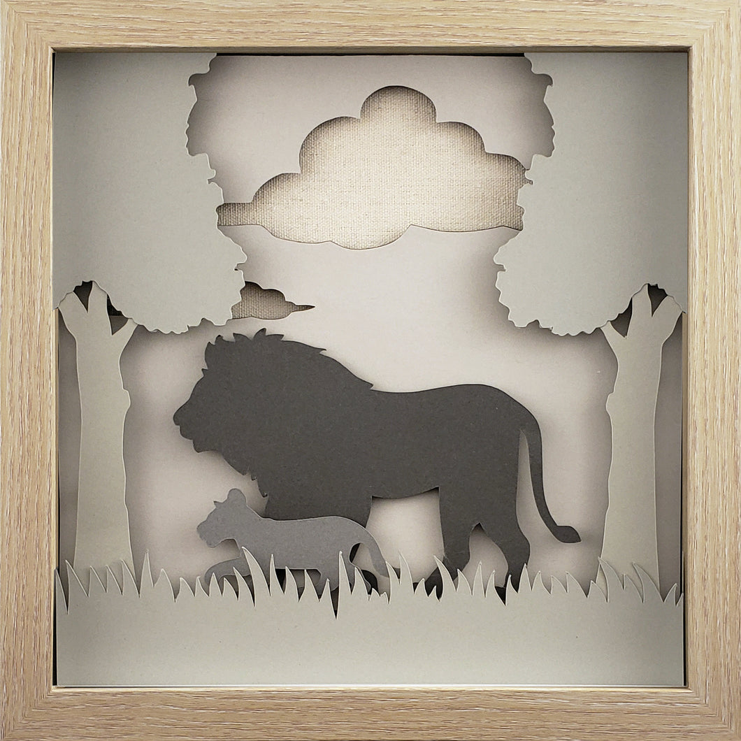 Love of a Parent (Gray) - A Lion & His Cub - The PaperClips Company