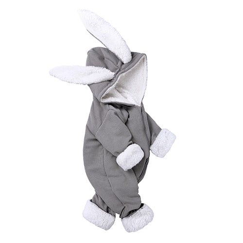 Grey Ribbed Bunny Bodysuit