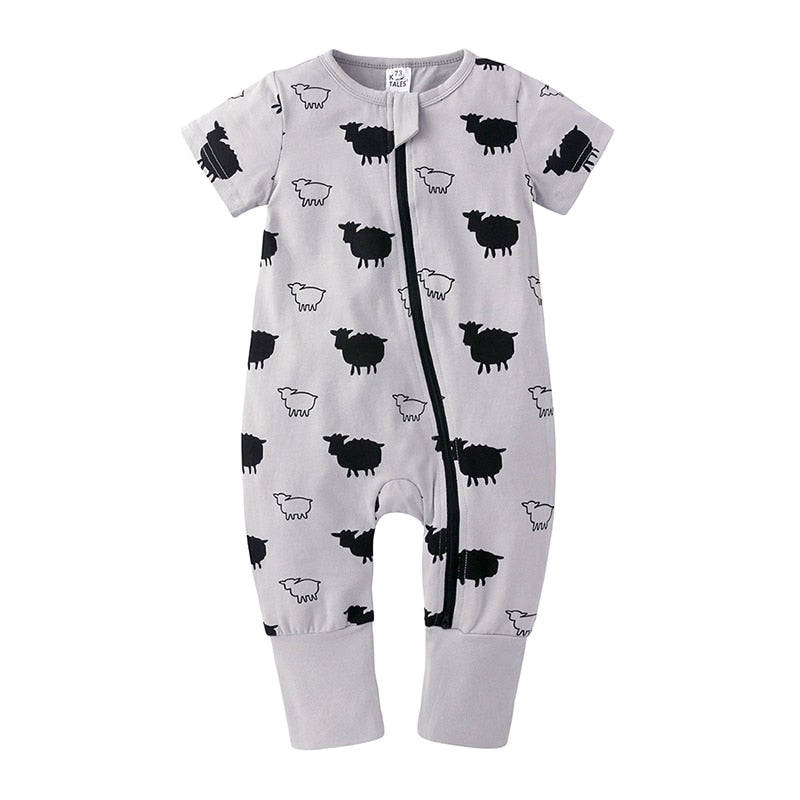 Sheep Zipped Short-sleeve Bodysuit
