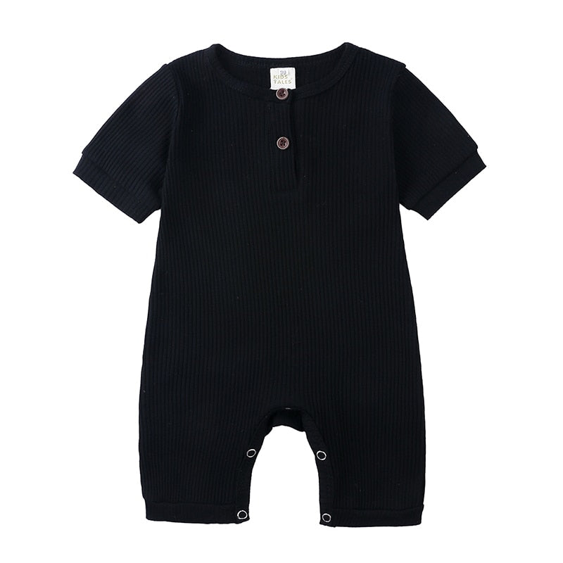 Black Ribbed Short Sleeve