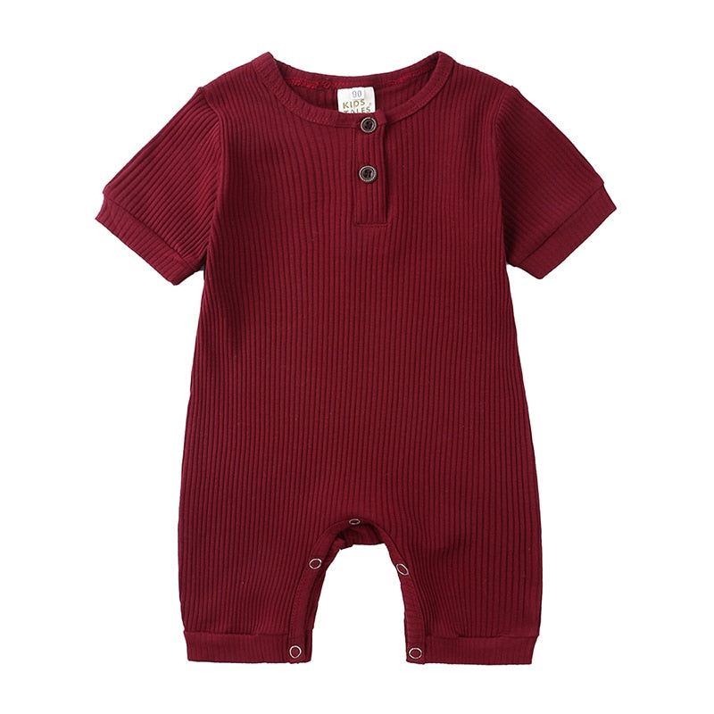 Red Wine Ribbed Short Sleeve