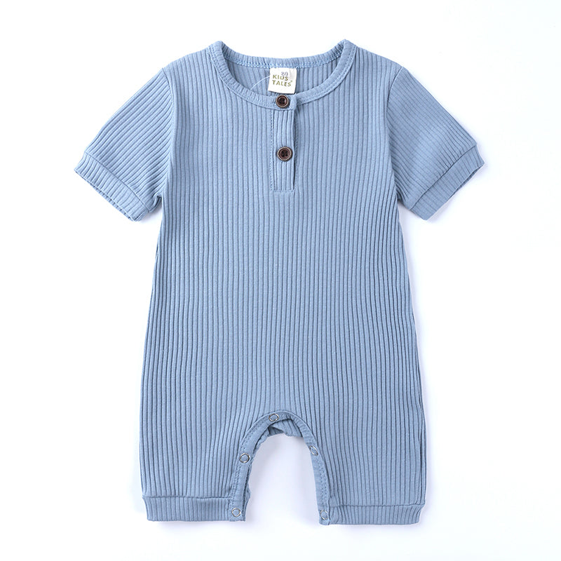 Sky-Blue Ribbed Short Sleeve