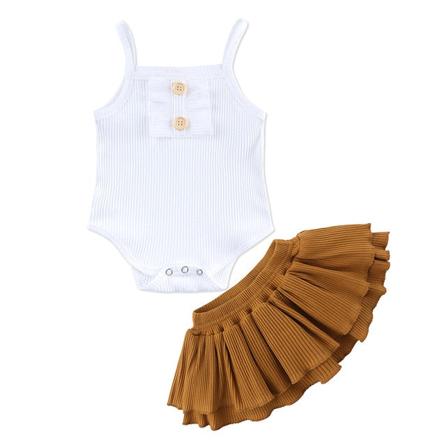 Ribbed White & Brown 2 Piece